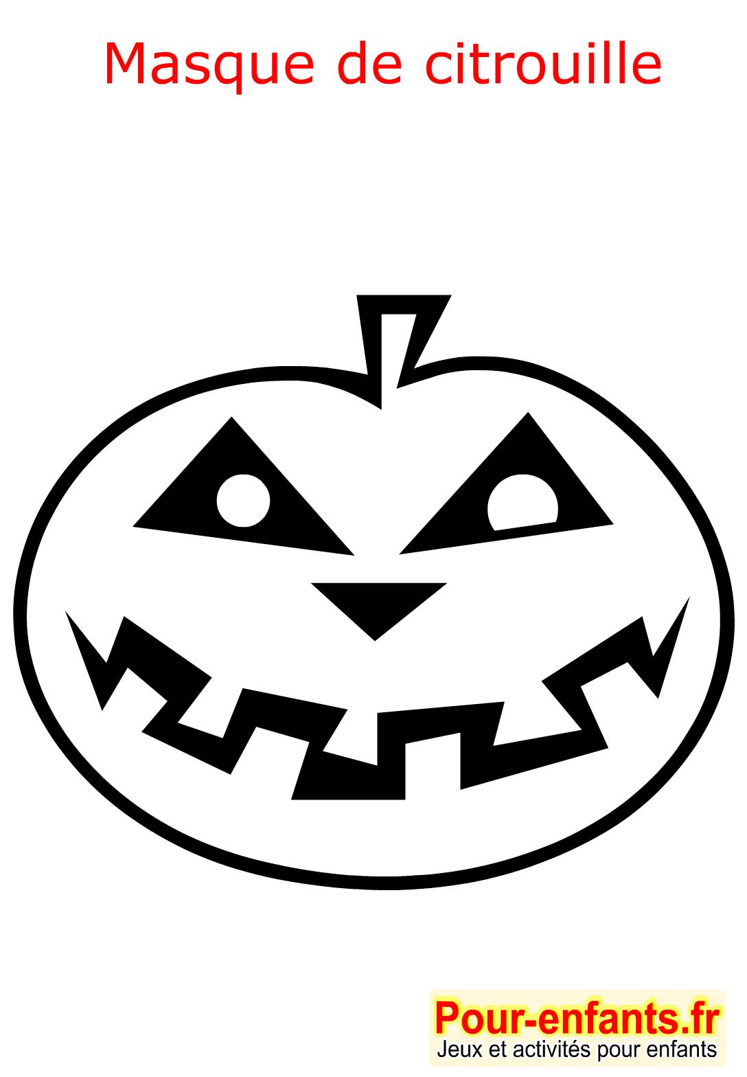 Pin halloween coloriage masque citrouille enfant fabrication masques de on pinterest - Masque halloween a fabriquer ...