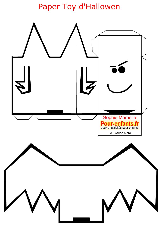 Paper toy halloween chauve souris a imprimer gratuit jouet for Gabarit chauve souris a imprimer