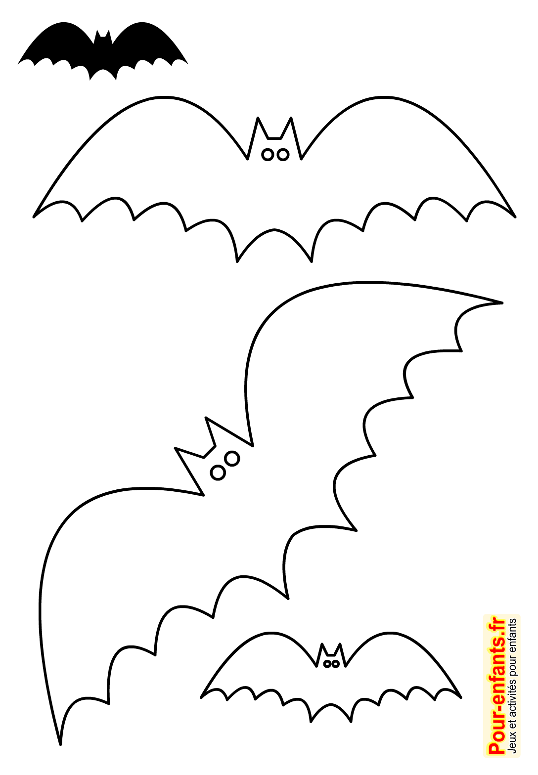 Halloween bricolage enfant silhouette chauve souris forme - Deco chauve souris halloween ...