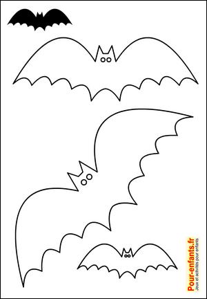 halloween bricolage enfant silhouette chauve souris forme pochoir chats gabarit patron chauve. Black Bedroom Furniture Sets. Home Design Ideas