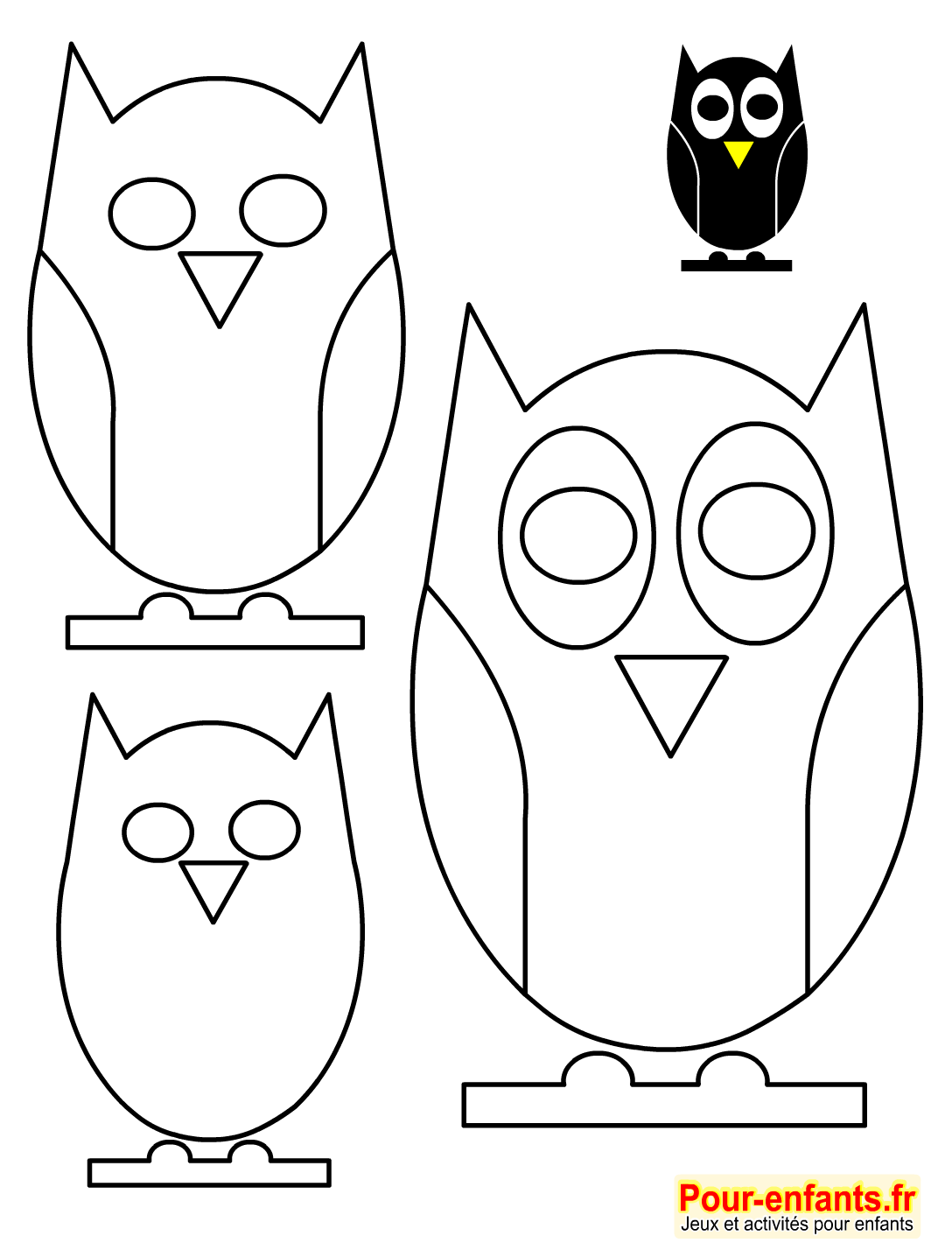 halloween bricolage enfant silhouette hibou forme pochoir hiboux gabarit patron hibou activit s. Black Bedroom Furniture Sets. Home Design Ideas