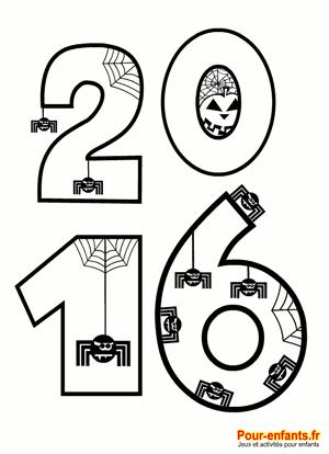 Coloriage Halloween 2016 à imprimer. Pour enfants de maternelle. Pour illustrer la date d'Halloween 2016.