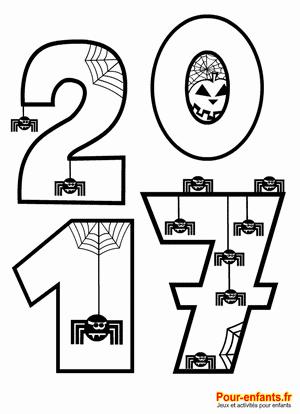 Coloriage Halloween 2017 à imprimer. Pour enfants de maternelle. Pour illustrer la date d'Halloween 2017.
