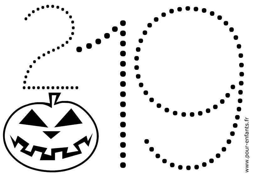 Dessin à imprimer Halloween pour maternelles. Coloriage de mots en pointillés. Jeu de points à relier