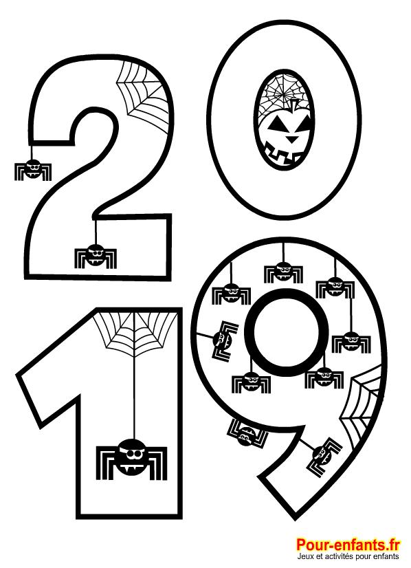 Coloriage Halloween 2019 à imprimer. Pour enfants de maternelle. Pour illustrer la date d'Halloween 2019.
