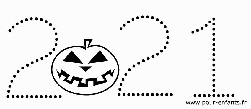 Date Halloween 2021 à imprimer. Coloriage de chiffres en pointillés.