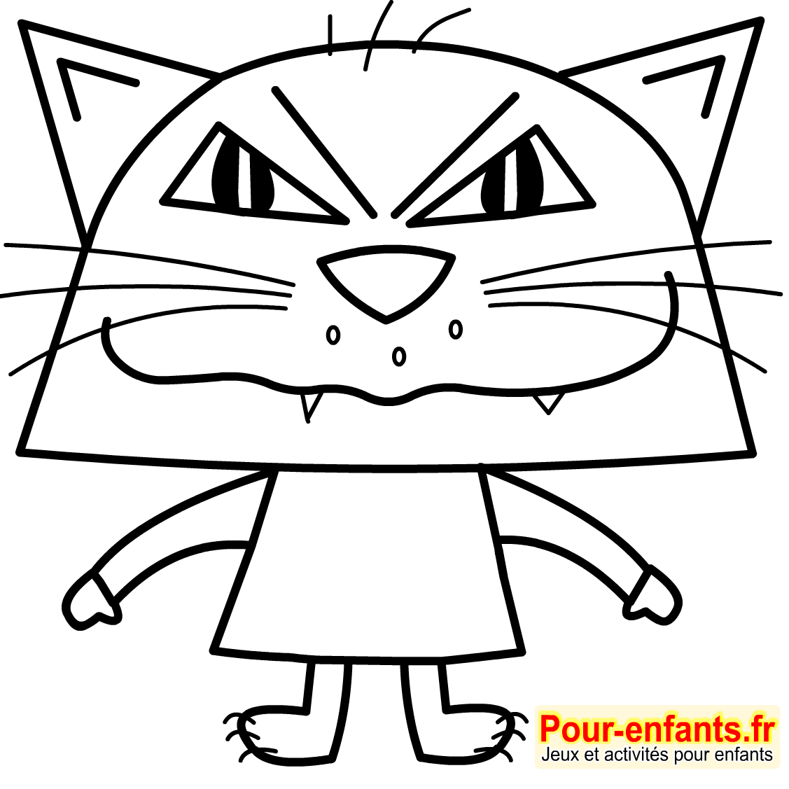 Chat a colorier non imprimer - Modele dessin chat facile ...