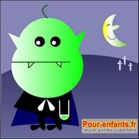 Jeux de puzzle Halloween : dessin de vampire