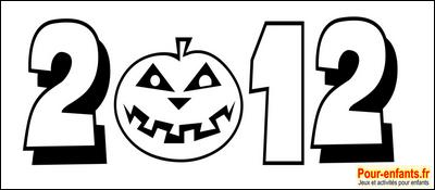 Dessin Halloween 2012 chiffres à imprimer pour faire un coloriage Halloween 2012