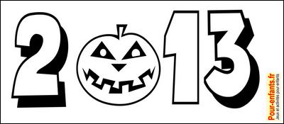 Dessin Halloween 2013 en chiffres à imprimer pour faire un coloriage