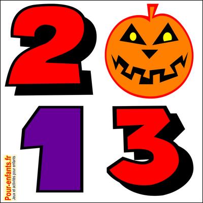 Halloween 2013 date en chiffres à imprimer