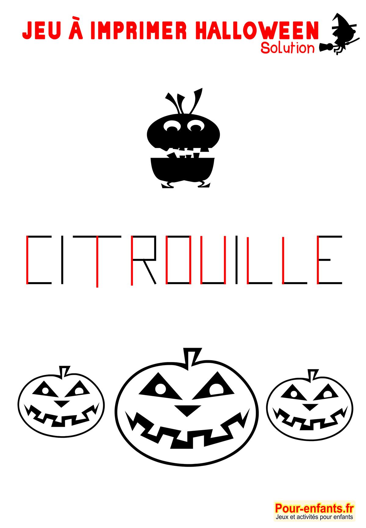 Jeux imprimer halloween lettres solution jeu imprimable - Image halloween a imprimer ...