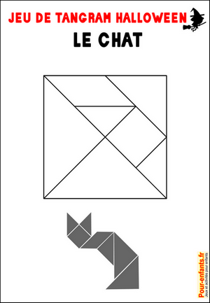 Jeux de tangram à imprimer jeu tangram chat
