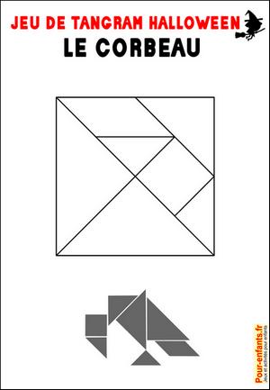 Jeux de tangram à imprimer jeu tangram corbeau