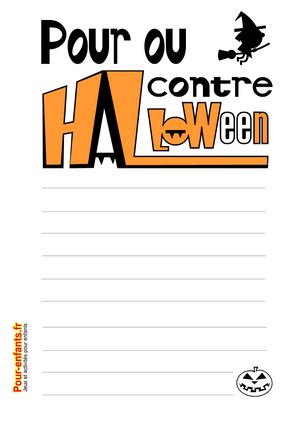 Imprimer des feuilles de papiers à lettres Pour ou contre Halloween