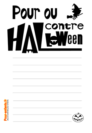 Imprimer des feuilles de papiers à lettres Pour ou contre Halloween noir et blanc