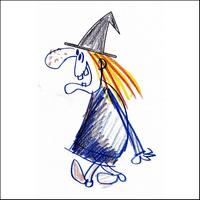 Jeux de puzzle Halloween : dessin de sorcière